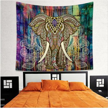 Indian Elephant Mandala Tapestry Wall Hanging Throw Chiffon Beach Coverlet Curtain Yoga Mat 150x130cm 203x153cm Home Decor