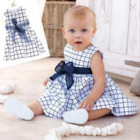 Girl Kids Cotton Top Bow Knot Plaids Dress Outfit Baby Toddler Clothes 0-3 Years TY-211