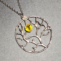 Tree of Life Necklace, Harvest Moon, Topaz Crystal, Friendship Gift, Circle Tree Necklace, Pendant Jewelry