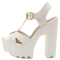 Chunky Lug-Soled T-Strap Sandals by Charlotte Russe - White