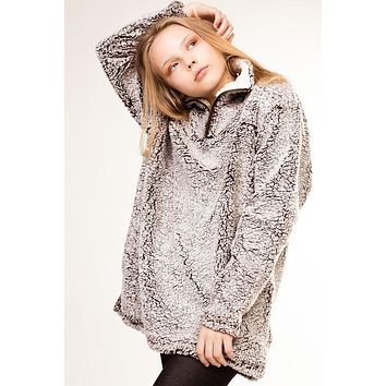 2018 Fall Fuzzy Soft Fleece Pullover With Side Pockets Brown