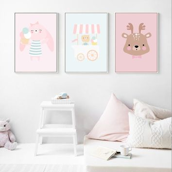 Rabbit Car Deer Nordic Poster Wall Art Canvas Painting Posters And Prints Decoration Pictures Baby Girl Boy Room Art Print Decor