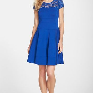 Women's FELICITY & COCO Lace Yoke Fit & Flare Ponte Dress (Nordstrom Exclusive)