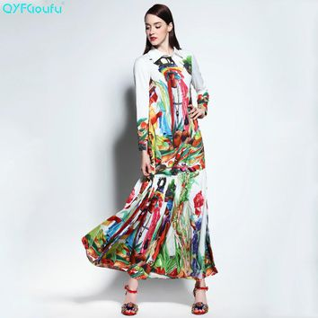 QYFCIOUFU 2018 Summer Runway Pleated Maxi Dress Womens Long Sleeves High Quality Fashion Fruit Printed Bohemian Long Dress