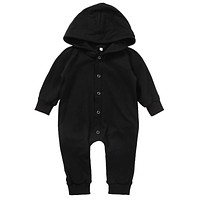 Cotton Newborn Baby Boy Kids Winter Warm Hooded Long Sleeve Black Romper Jumpsuit Hooded Clothes Outfits