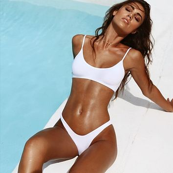 Hot Sale Fashion Sling Pure Color Two Piece Bikini Swimsuit Swimwear(4-Color) White