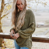 Lotus Flare Lace Sleeve Top - Olive
