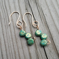 Green Honeycomb Earrings in Bronze