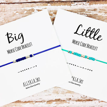 Big, Little Sorority Sister Morse Code Bracelets (Single or Set) | Sorority Sister Reveal Day Jewelry | Big, Little Gift