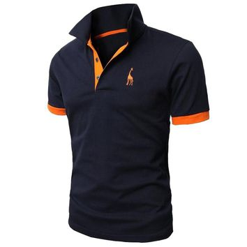 HD-DST 2018 Men's Fashion Casual Polo Shirt Personality Giraffe Embroidery Design Short-Sleeve Tops Tees
