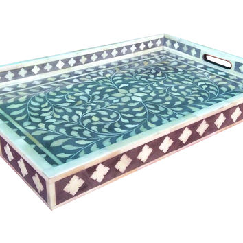 Gray Floral Bone Inlay Serving Tray
