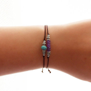 Turquoise Bracelet - best friend gift - friendship bracelet - best friend bracelet - bridesmaid gift - friend ship bracelet - howlite stone