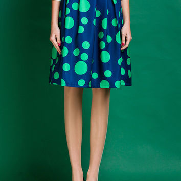 Polka Dot A-Line Pleated Midi Skirt