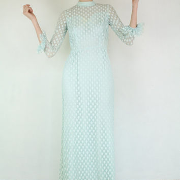 Vintage 60's Wedding Polka dot Baby Blue Boho Romantic illusion body Prom Party Gown Maxi dress XS S