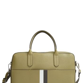 Men's Ben Minkoff 'Fulton' Saffiano Leather Briefcase - Green