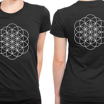 CREYH9S Coldplay A Head Full Of Dreams Logo Black And White 2 Sided Womens T Shirt