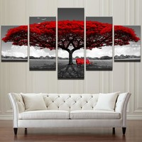 HD Printed Wall Art Pictures 5 Piece Red Tree Art Scenery