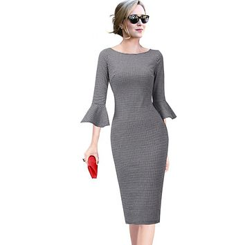 Vfemage Women Elegant Flare Trumpet Bell Sleeve Houndstooth Vintage Pinup Casual Work Office Party Bodycon Sheath Dress 1606