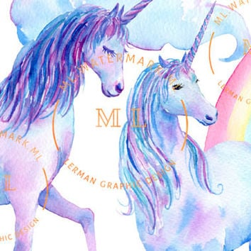 Watercolor Unicorn clipart - Scrapbooking Unicorn Pictures