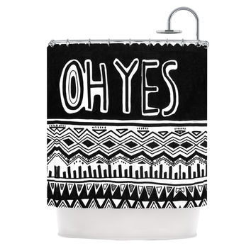 "Vasare Nar ""Oh Yes"" Black White Shower Curtain"