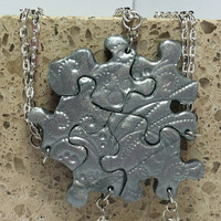 Puzzle Piece Necklace Set of 5 Bridesmaid by GirlwithaFrogTattoo