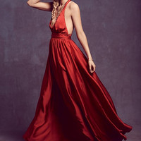 Red Braided Straps Maxi Dress