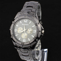 Mens Black Steel Strap Watch Boys Casual Sports Watches Best Christmas Gift
