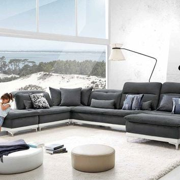 Lusso Horizon Modern Grey Fabric & Leather Sectional Sofa
