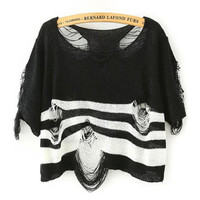 Frayed Striped Knit Short Sleeve Pullover Cropped Sweater