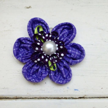 Fabric flower applique, fabric flower for sale, fabric flower for hair clips, fabric flower for brooches, cute flower, purple flower
