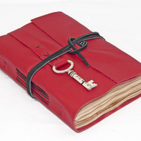 Red Leather Journal with Tea Stained Paper and Key Bookmark - Ready to ship
