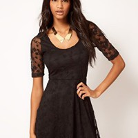 Paprika Star Lace Skater Dress at asos.com