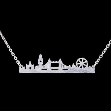 London Skyline Necklace Cityscape Dainty Chain Necklace Charm Women Fashion Jewelry Stainless Steel Accessories Best Friend Gift