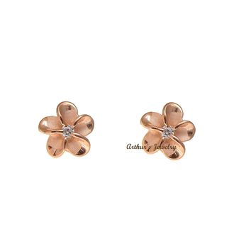 ROSE GOLD ON STERLING SILVER 925 HAWAIIAN PLUMERIA FLOWER STUD EARRINGS CZ 6MM