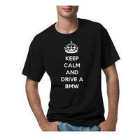 KEEP CALM AND DRIVE A BMW black Large L T-shirt