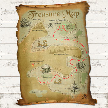Ahoy There Mateys - Pirate Birthday Treasure Map - Rustic, Vintage Design - Skulls,Swords, Ships, Treasure & Sea Monsters - Personalized