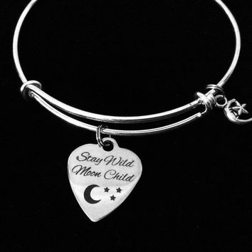 Stay Wild Moon Child Adjustable Bracelet Crescent Moon and Star Expandable Silver Wire Bangle Gift Daisy