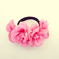 Pink Flower Bun Wrap Rose Bun Holder Ponytail Holder Elastic Scrunchie Accessory