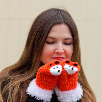 Knit women gloves Fox mittens Adult animal mittens Orange knit mittens Knit fox gloves Girls knit mittens Knit arm warmers Knit adult gift