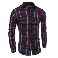Classics Plaid Men Casual Long Sleeve Simple Design Shirt [6544494083]