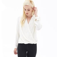 Fashion Simple V-neck Pure Color Long Sleeve Blouse
