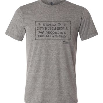 Welcome to Muscle Shoals Vintage Tri Blend Crew T Shirt