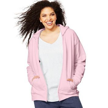 Just My Size ComfortSoft  EcoSmart  Fleece Full-Zip Women's Hoodie Style: OJ105-Pale Pink 1X