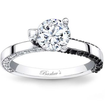 Barkev's White & Black High Polish Contemporary Diamond Engagement Ring