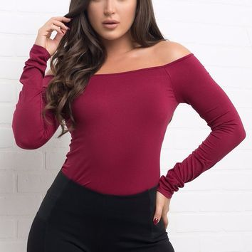 Basic Top Long Sleeve - Burgundy