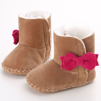 Infant Baby Boys Warm Boots Shoes Newborn Kids Crib Snow Soft Bottom Anti-slip Booties 0-18 Months Shoes SM6