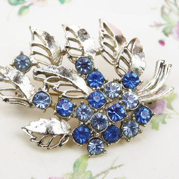 Spray Brooch, Floral, Rhinestones, Sparkly Brooch, Something Blue, Bridal Gift, Wedding Pin, Metal Accessory, Silver Tone - 1940's / 1950's