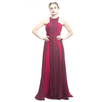 Elegant Long Evening Dress Red Sleeve Formal Dresses Tulle Appliques Wine Red Long Party Dress
