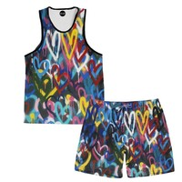 Painted Hearts Tank And Shorts Rave Outfit