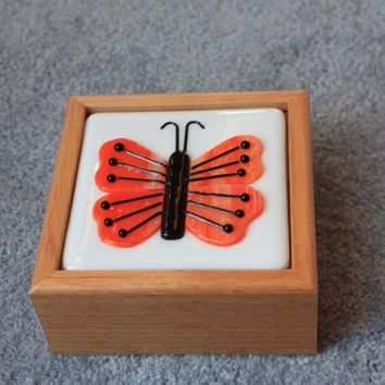 Wooden box with handcut orange streaky fused glass butterfly